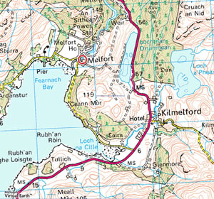 Map showing location of Old Dairy Cottage by Loch Melfort Scotland